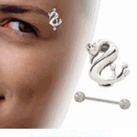 Sterling Silver Swan Eyebrow Shield with Barbell