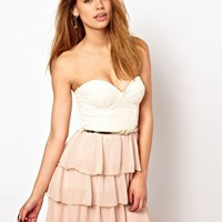 Elise Ryan Belted Lace Bandeau Dress with Ra Ra Skirt at asos.com