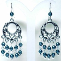 Swarovski Tahitian Pearl  Crystal Moonlight Chandelier 925 Earrings