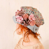 Woman newsboy hat Blue crochet hat Blue floral hat Pastel hat woman Blue pink hat Woman crochet hat Chunky hat Crochet newsboy hat