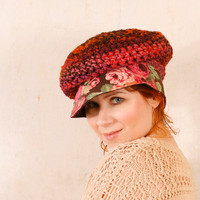 Adult crochet hat Woman newsboy hat Winter hat slouchy Woman cap Woman wool hat Brown orange hat Chunky hat Warm hat  Corduroy hat