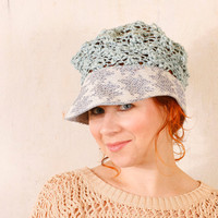 Summer hat blue Woman hat blue Crochet hat blue Knit hat woman Pastel hat woman Adult crochet hat Crochet cap woman
