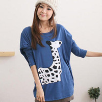 YESSTYLE: CatWorld- Drop-Shoulder Giraffe Print Top (Blue - One Size) - Free International Shipping on orders over $150