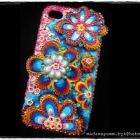 Flower 3D iphone case Hand Painted 4 / 4S Swarovski Crystal cover
