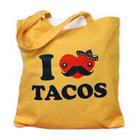 I Love TACOS Tote Bag by theboldbanana on Etsy