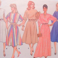 Butterick Sewing Pattern 6510 Pullover Dresses Misses 8 to 12 ca 1984