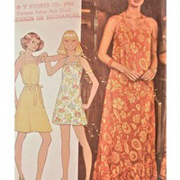 McCalls Pattern 4533 Misses Size 10 Maxi Halter Sundress 1975