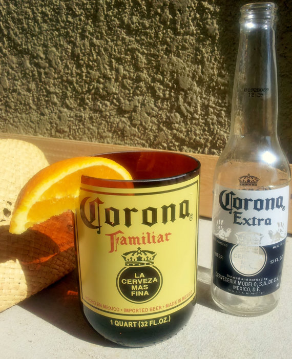 Corona beer bottle glass tumbler made from for How to make corona glasses