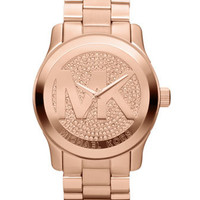 Michael Kors Oversized Rose Golden Stainless Steel Runway Three-Hand Glitz Watch - Michael Kors