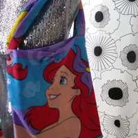 Colorful Little Mermaid Ariel Bow Disney Fabric Disneyland Purse Tote