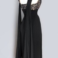 1960's Little Black Dress Lace & Silk Chiffon Falls - M :