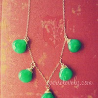 $68.00 fit for a queen  green jade gemstone and gold by EverSoLovely