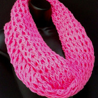Infinity Crochet Scarf. Pink Girls Infinity. Fantasy Scarf. Spring, Fall and WinterScarf