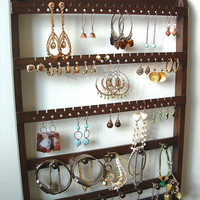 Jewelry Holder, 20 Peg Necklace Bracelet Display, Holds 54-108 Earring Pairs, Brown, Oak, Wood, Boutique Quality & Design