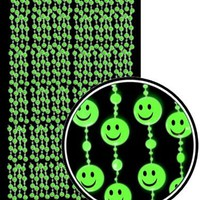 Beaded Curtains - Glow in the Dark Smiley Face Door Beads #61138