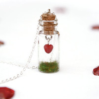 Valentine Sale Heart in a Jar Necklace with by PeachesandPebbles