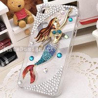iphone 4s case, handmade iphone 4 cases iphone cover skin crystal iphone 5 case - mermaid iphone 5 cases