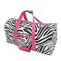 Zebra and Hot Pink Duffel Bag Large 22