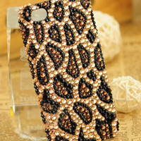 Cool Leopard Handmade Rhinestone Hard Cover Case For Iphone 5