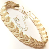 Braided bracelet woven rope plaited cord macrame friend knot adjustable modern satin jewelry gift for her - ecru champagne beige cream ivory