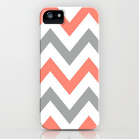 Coral & Gray Chevron iPhone Case by nataliesales | Society6