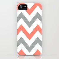 Coral &amp; Gray Chevron iPhone Case by nataliesales | Society6