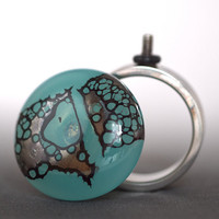 Sea Green Ring  Ring and Changeable Ringtop in sea by ShedBeads