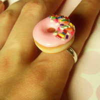 pink strawberry glazed doughnut ring with by ScrumptiousDoodle