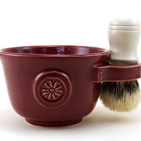 Womens Shaving Mug, Garnet Red Shave Mug with a Flower, Unique Valentine's Day Gift, Shave Cup, Gift for Her by MiriHardyPottery