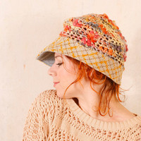 Summer crochet hat Woman knit hat Yellow blue hat Crochet newsboy Summer knit hat Pastel hat Adult crochet hat Slouchy hat