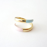 Pastel Ring. Soft Pastels. Adjustable Ring. Stackable Ring. Simple. Everyday Jewelry. Color Block.