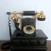 Vintage Black Telephone 1970's DecoTel by houseofheirlooms