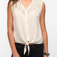 Pins and Needles Crochet Trim Tie-Front Shirt
