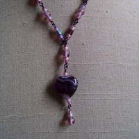 Purple Glass Heart Necklace by AthomicArtandDesign on Zibbet