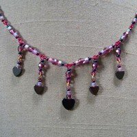 Purple Faceted Hematite Hearts Necklace by AthomicArtandDesign