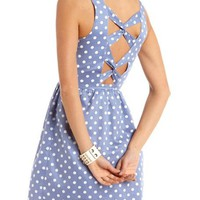 Twist-Back Polka Dot A-Line Dress: Charlotte Russe