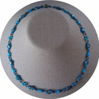 Sky Blue Speckled Necklace by AthomicArtandDesign on Zibbet