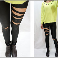 Sandysshop  Black Slashed Ripped Leggings