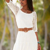 Long-Sleeve Embroidered Lace Dress