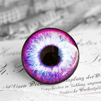30mm handmade glass eye cabochon - purple/blue eye