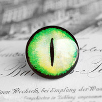 25mm handmade glass eye cabochon - green/yellow cat or dragon eye
