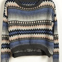 Vintage Loose Blue Stripe Sweater