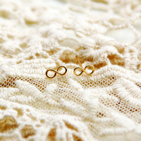 Valentine's Day Infinity Stud earrings gold post by AAprill