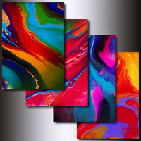 Print Set: Set of 4 Multi Coloured 5 x 7 Abstract Art Giclee Reproduction Art Prints
