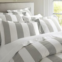 PB Classic Stripe 400-Thread-Count Duvet Cover &amp;amp; Sham - Gray Mist