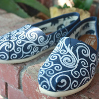 Swirls Original Custom Acrylic Painting for Toms/Canvas Shoes