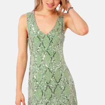 TFNC Abria Sage Green Sequin Dress