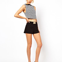 ASOS Tailored Shorts with Gold Detail at asos.com