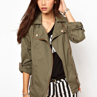 Only  Military Biker Jacket at asos.com
