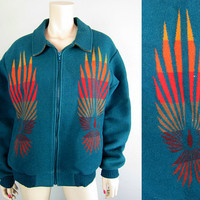 Vintage Pendleton Beaver State Turquoise Wool Indian Navajo Trade Blanket Bomber Jacket Coat size M flames wings